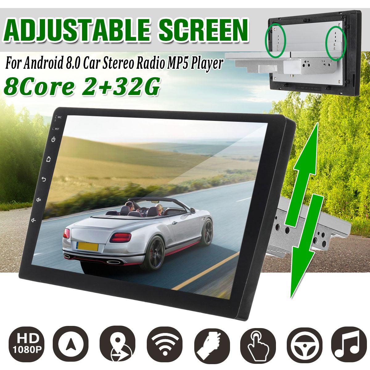 2+32G Android 8.0 Car Multimedia Player 1Din Radio Player 9/10.1 with Up Down Adjustable Screen Wifi bluetooth GPS Car Stereo image