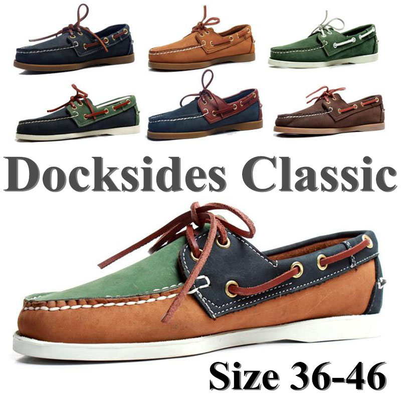 Men Genuine Leather Docksides Classic Homme Femme Boat Shoes,Plus Size Navy Blue Brown Black Flats Loafers Women 2019A053