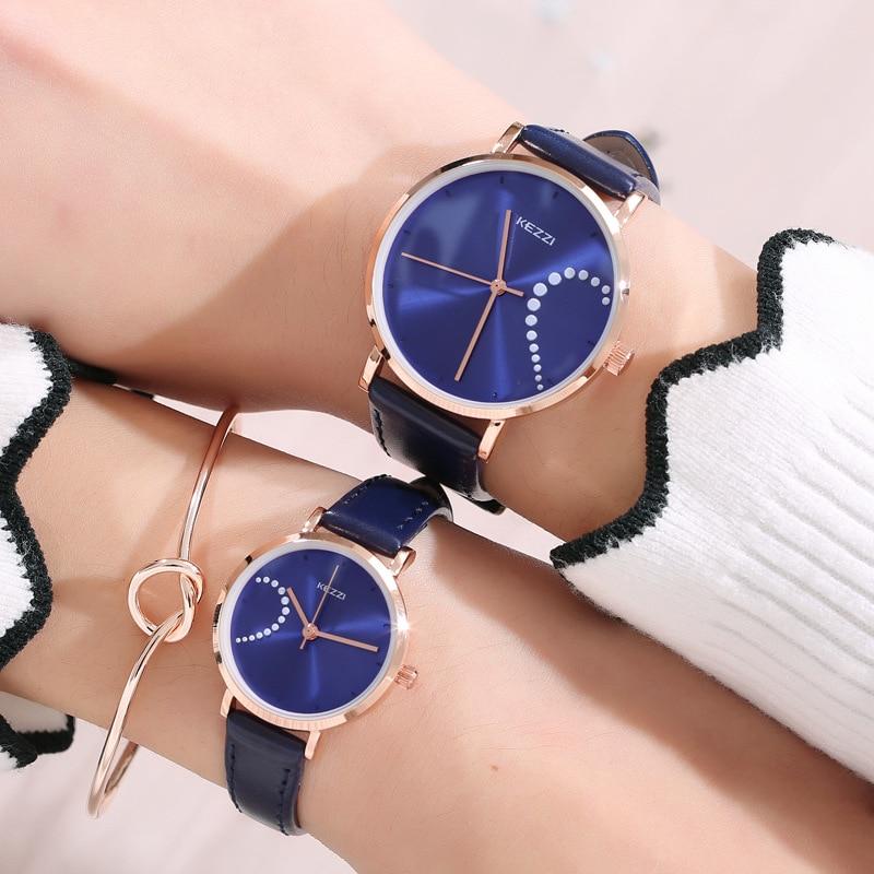 Top Brand KEZZI Lovers' Couples Quartz Men Watch Women Valentine Gift Clock Watches Ladies 30m Waterproof Wristwatches