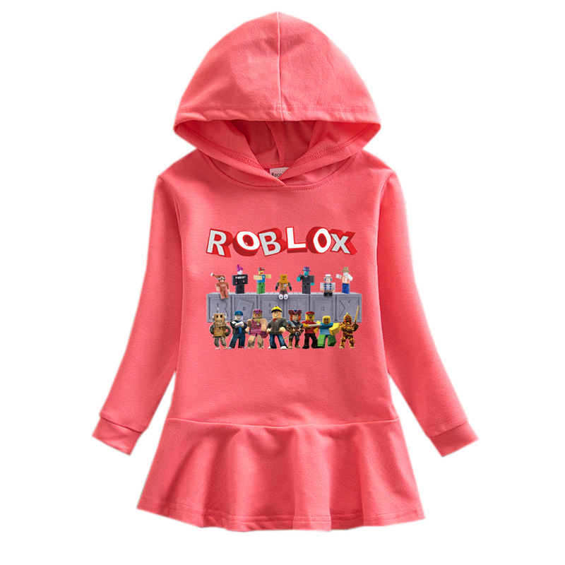 100/% Cartoon Girl Boy Casual Hooded Tops Roblox T-shirt Kids Hoodie Jumper 3-10Y