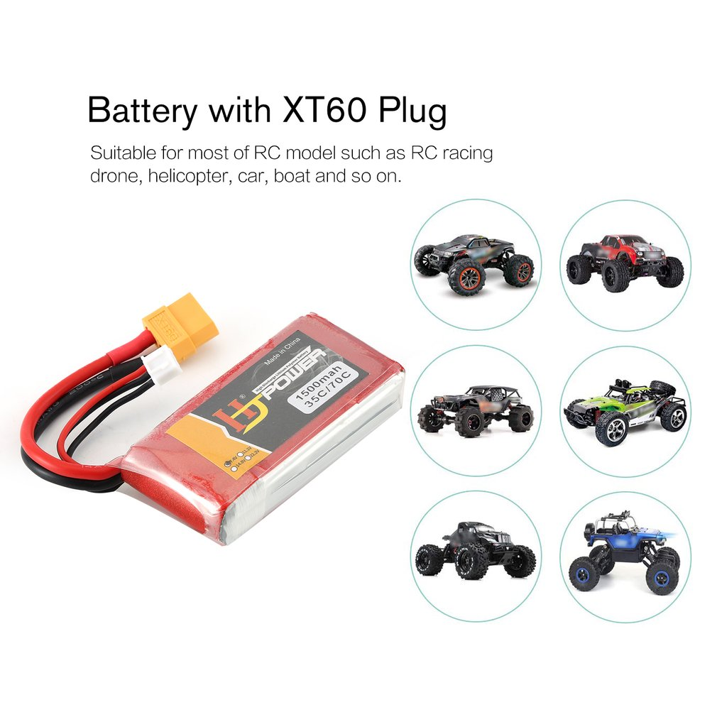 HJ 7.4V 1500MAH 35C 2S Lipo Battery XT60 Plug Rechargeable For RC Racing Drone Helicopter Car Boat Model