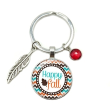 2019 New Hot Happy Fall Time Glass Dome Keychain 8 Color Crystal Alloy Leaf Jewelry Key Ring Small Gift цена и фото