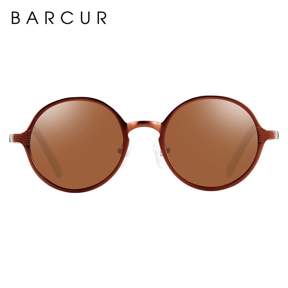BARCUR Hot Black Goggle Male Round Sunglasses Luxury Brand Men Glasses Retro Vintage Women Sun glasses UV400 Retro Style 9
