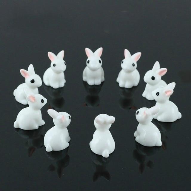 15 pçs adorável miniatura mini coelho resina jardim ornamento de fadas flor planta pote casa estatueta decoração animal