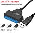 SATA USB адаптер SATA 3 хомут для кабеля 6 Гбит/с 2,5 дюймов внешний Твердотельный накопитель Жесткий диск HDD 22 Pin кабелем Sata III, USB 2,0/3,0, 20 см
