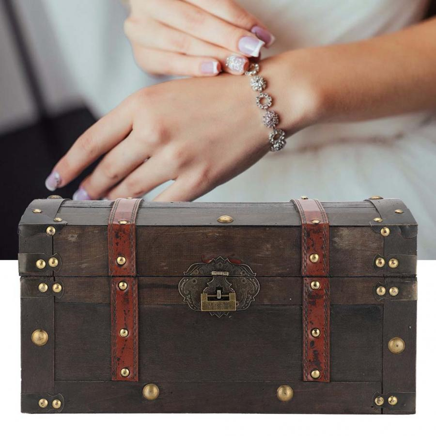 Portable Vintage Jewelry Box Container Wooden Cosmetics Tool Storage Holder with Lock Watch Cases Watch Holder for Watch Storage | Watch Boxes