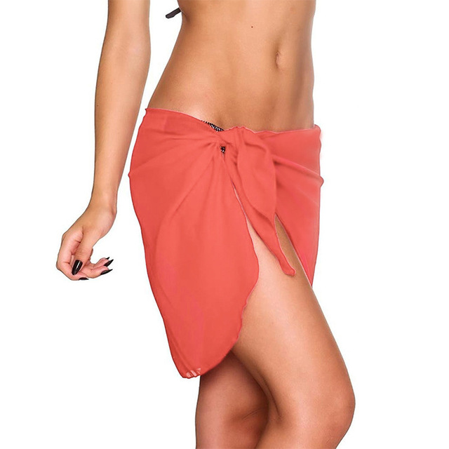 15 Colors Sexy Swimwear Women Beach Skirt Solid Color Chiffon Cover Up Bikini Wrap Beach Sarong For Swim Bathing Suit Swimsuit 8