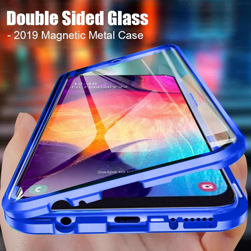 Double Sided Glass Case For <font><b>Samsung</b></font> Galaxy A50 Cases Magnetic Metal bumper Cover for <font><b>samsung</b></font> A20 A30 <font><b>A70</b></font> A51 A71 A50S M30S <font><b>Coque</b></font> image