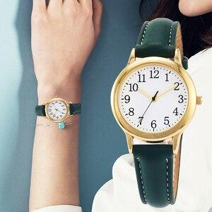 Image 5 - Japão movimento de quartzo números árabes fácil leitura correias de couro senhora relógio feminino cor doces simples dial watch