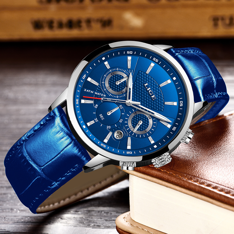 Ha242d8538d994ec0b2f73c0e283bbe4dQ LIGE Fashion Mens Watches Top Brand Luuxury Blue Quartz Clock Male Casual Leather Waterproof Sport Chronograph Relogio Masculino