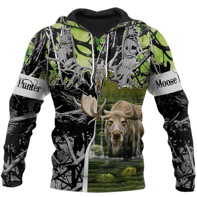 2020 New Hoodie Beutiful Moose Hunting Camo 3D Printed Hooded Sweatshirts Unisex Casual Streetwear Hoody Wholesale And Retail
