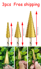 Factory sale 3pcs 1/4 Step Cone Taper Drill Bit Set Hole Cutter Metric Titanium Coated Metal Hex Stepped Drill Bits 4-12/20/32mm quick change hss hex shank pagoda larger 4 12mm titanium coated metal steel stepped step drill bit hole cutter cut tool bi107
