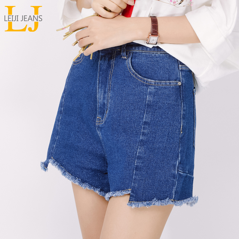 LEIJIJEANS New Large Size Women's Blue Denim Shorts Fashion Irregular Fringed Legs College Girls Large Size Denim Shorts