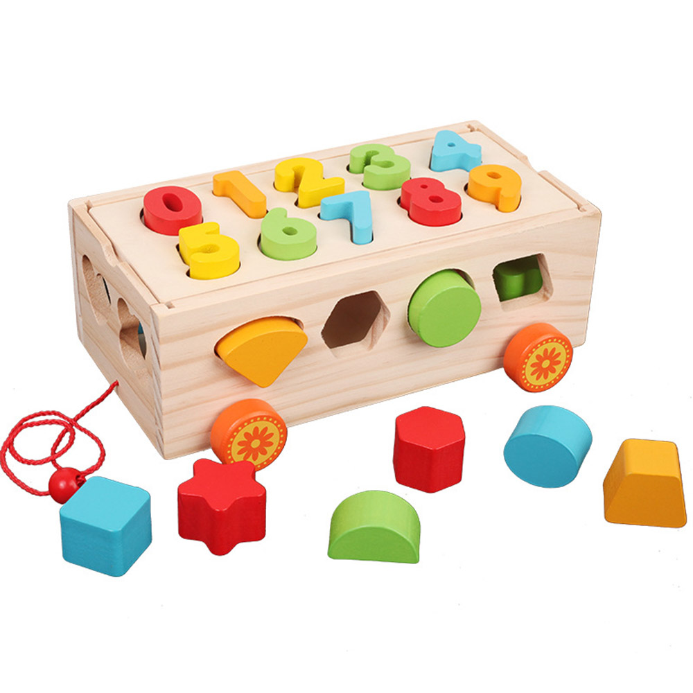 Wooden Trailer Shape Sorter Blocks Toys Puzzle Baby Educational Wooden Toy Colorful Building Blocks Toys Gifts For Children