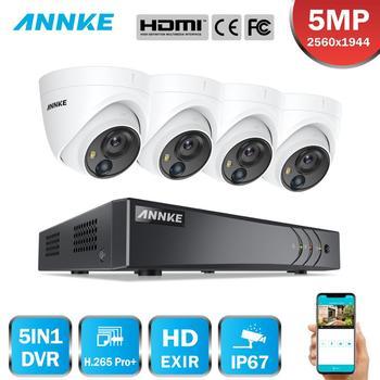 ANNKE 8CH 5MP Lite System bezpieczeństwa wideo 5w1 H.265 + DVR z 4 sztuk 5MP PIR HD EXIR Dome wodoodporne kamery monitorujące zestaw CCTV