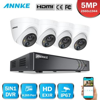 ANNKE 8CH 5MP system kamer bezpieczeństwa 5MP Lite 5w1 H 265 + DVR z 4 sztuk 5MP PIR HD EXIR Dome odporne na warunki atmosferyczne kamery monitoringu cctv Kit tanie i dobre opinie DW81KD0-V3-R4BN 20 m 4PCS 8CH Analog HD Analog+2CH IP HDMI and VGA up to 1080P 5MP Lite 3MP 1080P 720P VGA WD1 4CIF CIF@12fps