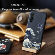3D Relief relief Abdeckung Für Huawei Ehre 20 Pro 20i V20 Mate 20 Nova 7i 5T 4E 3e P40 p30 P20 Lite Fall Zurück Shell Niedliche mit Ring