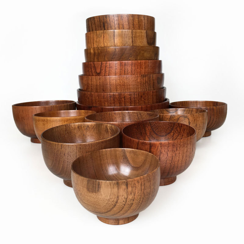 Tableware Environmental Protection Small Bowls Chinese Round Wooden Soup Bowl Large Spot
