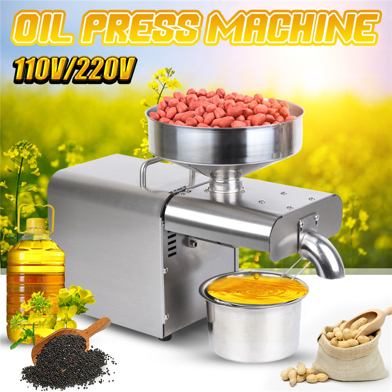 Household 220V/110V Oil Presser Stainless Steel Oil Press Machine EU/US Plug Peanut Olive Oil Maker Use For Sesame Almond Walnut