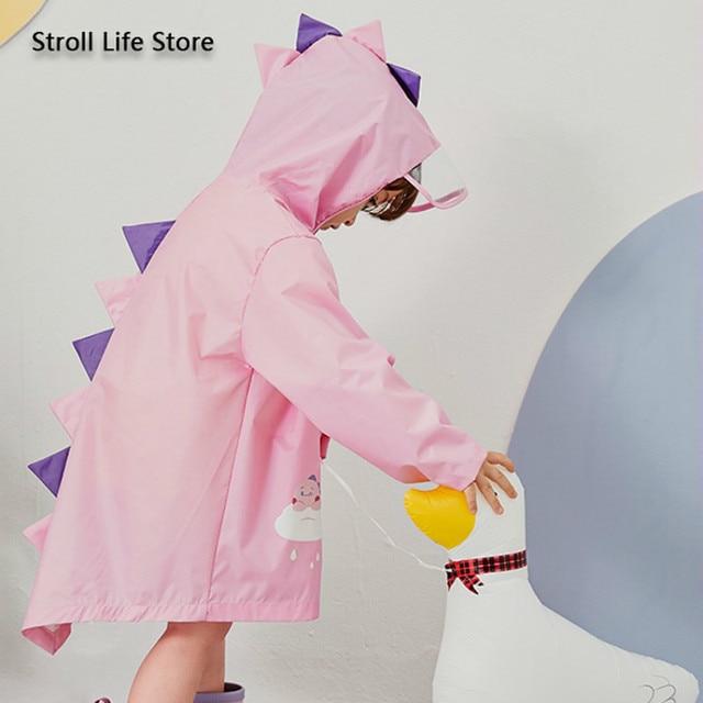 Cute Girl's Waterproof Raincoat Kids Rain Poncho Pink Dinosaur Long Clear Rain Coat Jacket Capa De Chuva Rain Suit Gear Gift