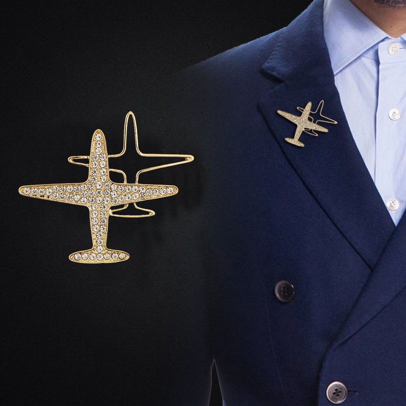 I-Remiel Fashion Airplane Style Brooch Pin For Women And Men Suit Sweater Small Aircraft Shawl Buckle Lapel Collar Accessories