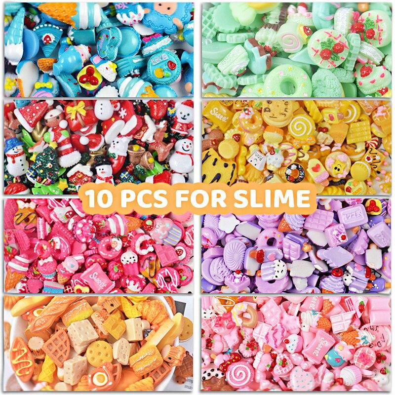 10Pcs/bag Resin Glue Charms For Slime DIY Addition Filler For Slime Accessories Modeling Lizun Additives For Slices Kids Toys