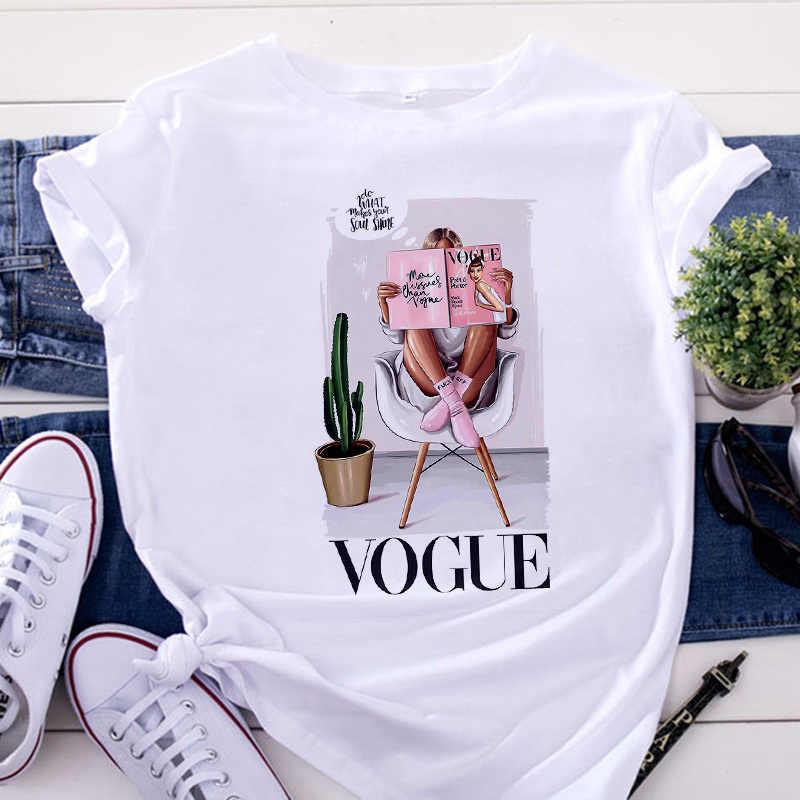 Nieuwe Vrouwen Vogue Afdrukken T-shirt Harajuku Trend Stijl O-hals T-shirt Zomer Korte Mouw Casual Streetwear Wit T-shirt Tops