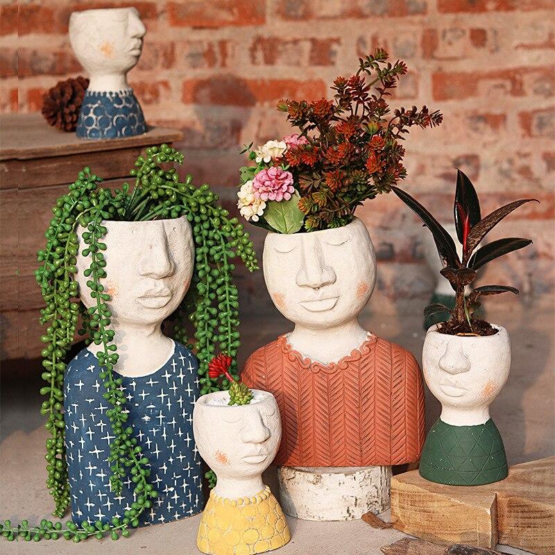 Happy Home Art Portrait Flower Pot Sculpture Ornaments Creative Flower Vase Potted Flower Garden Decoration Creative Flower Pot