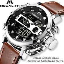 MEGALITH moda erkekler LED Quartz saat erkekler askeri su geçirmez izle spor İşlevli kol saati erkek saat Horloges Mannen