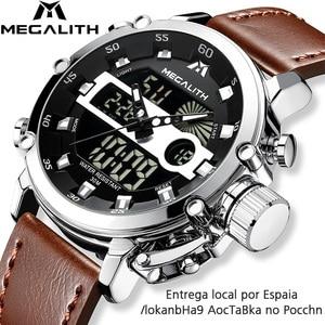 Image 1 - Megalith Mode Mannen Led Quartz Horloge Mannen Militaire Waterdicht Horloge Sport Multifunctionele Horloge Mannen Klok Horloges Mannen
