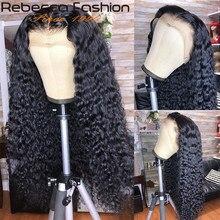 Rebecca – perruque de cheveux naturels bouclés, avec bonnet en dentelle, 30 pouces, ondulés, 13x4/180%/4x4, pre-plucked, avec Baby Hair, 360