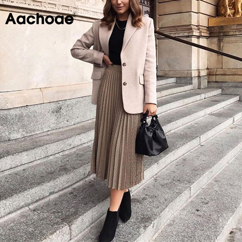 Aachoae Women Long Pleated Skirts 2020 New Spring Fashion Houndstooth Plaid Office Shirt Vintage Elegant Streetwear Midi Skirts