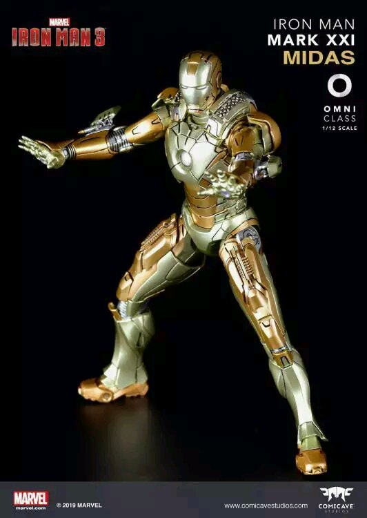 Comicave 1//12 Iron Man3 MK21 MIDAS Alloy Diecast Figure LED Eye /& Chest Doll Set