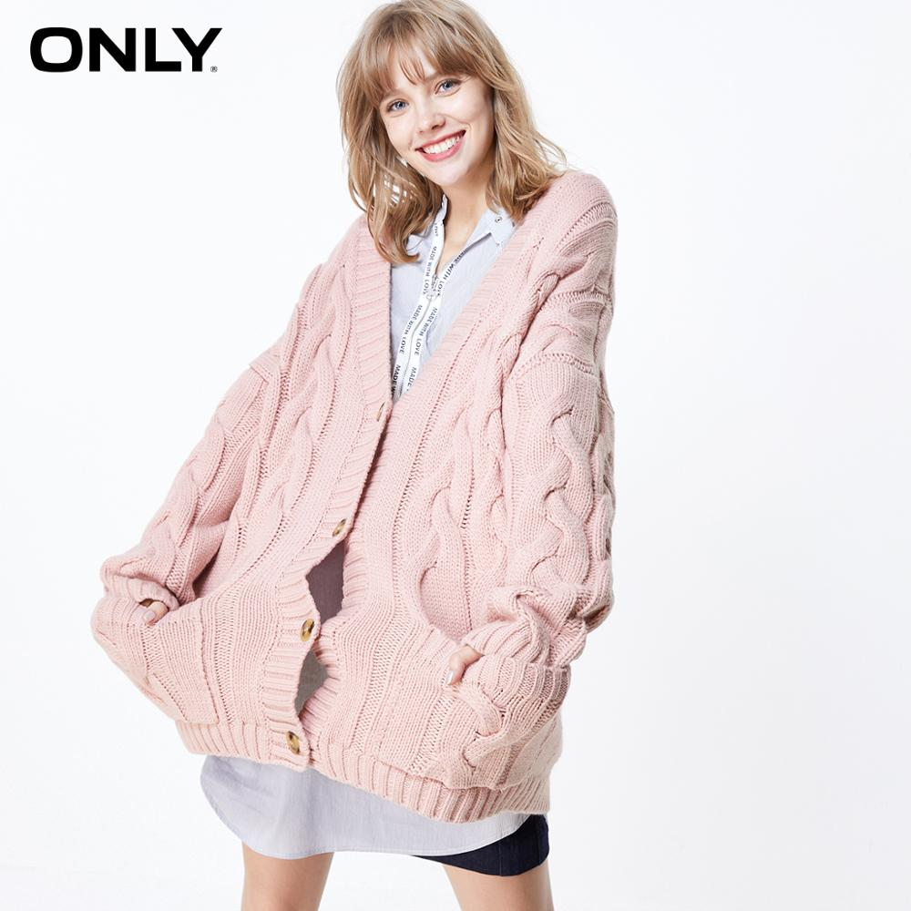 ONLY  Autumn Winter Women's Loose Fit Pure Color Knit Sweater Cardigan  | 11933B507