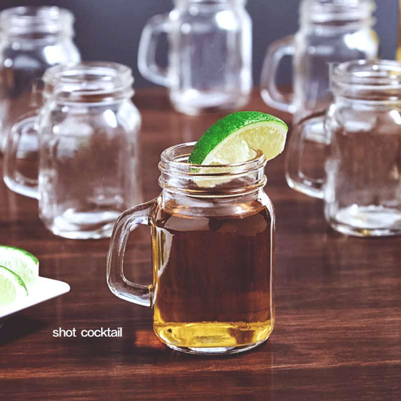 3 Size Mini Mason Jar Shot Glasses Transparent Crystal Wine Glass With Handles Bar Club Party Vodka Spirits Whiskey Glass Gifts