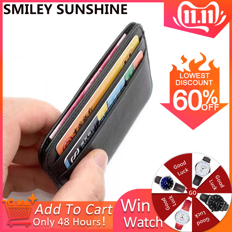 SMILEY SUNSHINE Genuine Leather Card Holder Men Women Business Card Id Holder Credit Card Case Wallet For Cardholder Porte Carte