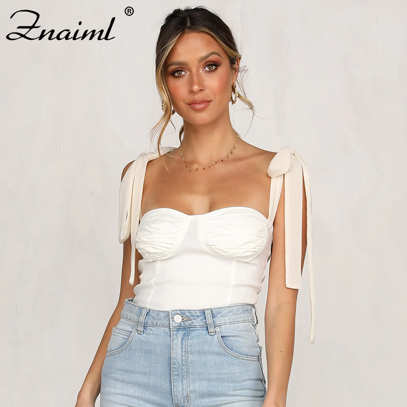 Znaiml 2020 Sexy Bow Tie Shoulder Camis Women Summer Slim Fitted Top Cropped Bustier Ladies Streetwear Chiffon Strap Camisole