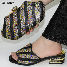 Shoe Women Sandals African-Style Wedding-Party-Pumps Female Plus-Size New-Fashion Bag-Set