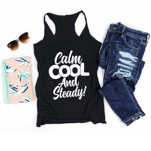Tank Inspirational Christian Hipster Religion Slogan Graphic Vest Undershirt Singlet Sleeveless Garment Calm Cool and Steady