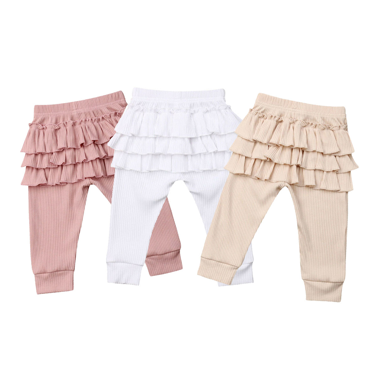 2019 New Autumn Sell Newborn Kids Baby Girl Solid Ruffle Leggings Bottoms Long Pants Trousers