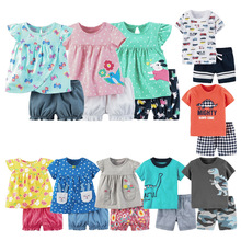Baby boys clothes sets summer cotton girls infant clothing 2pcs shirt+pants newborn baby girls clothes toddler outfits sets 2020 cheap Polyester Fashion O-Neck Pullover Short REGULAR Fits true to size take your normal size Broadcloth Coat cartoon Unisex