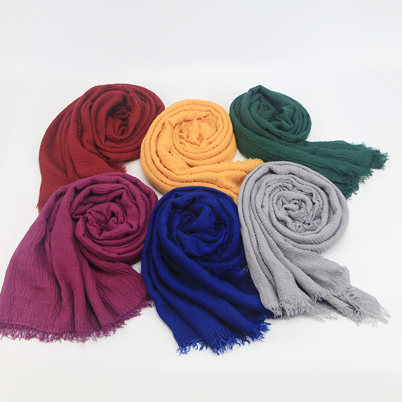 Image 3 - 2019 Fashion Women Muslim Scarf Cotton Hijab Plain Soft Shawls 