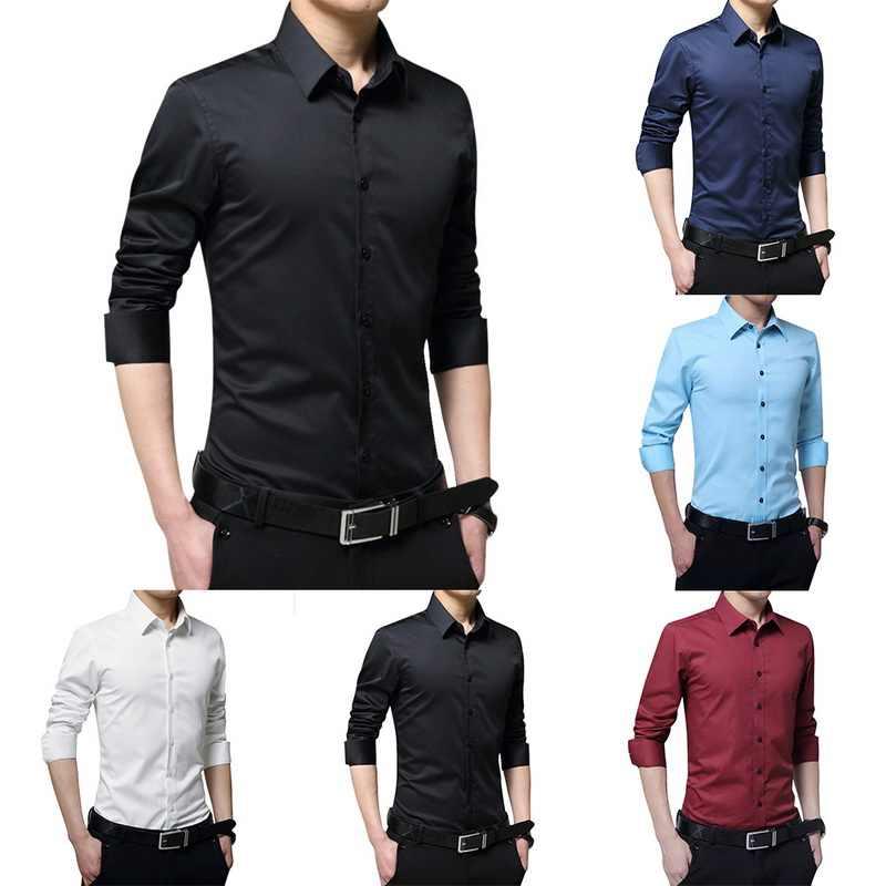 2019 nova moda masculina manga longa camisas casuais magro sólido vestido de negócios camisa primavera outono