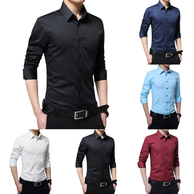 2020 New Spring Men's Long Sleeve Casual Shirt Slim Solid Business Dress Shirt Men's Dress Shirt Camisa Masculina