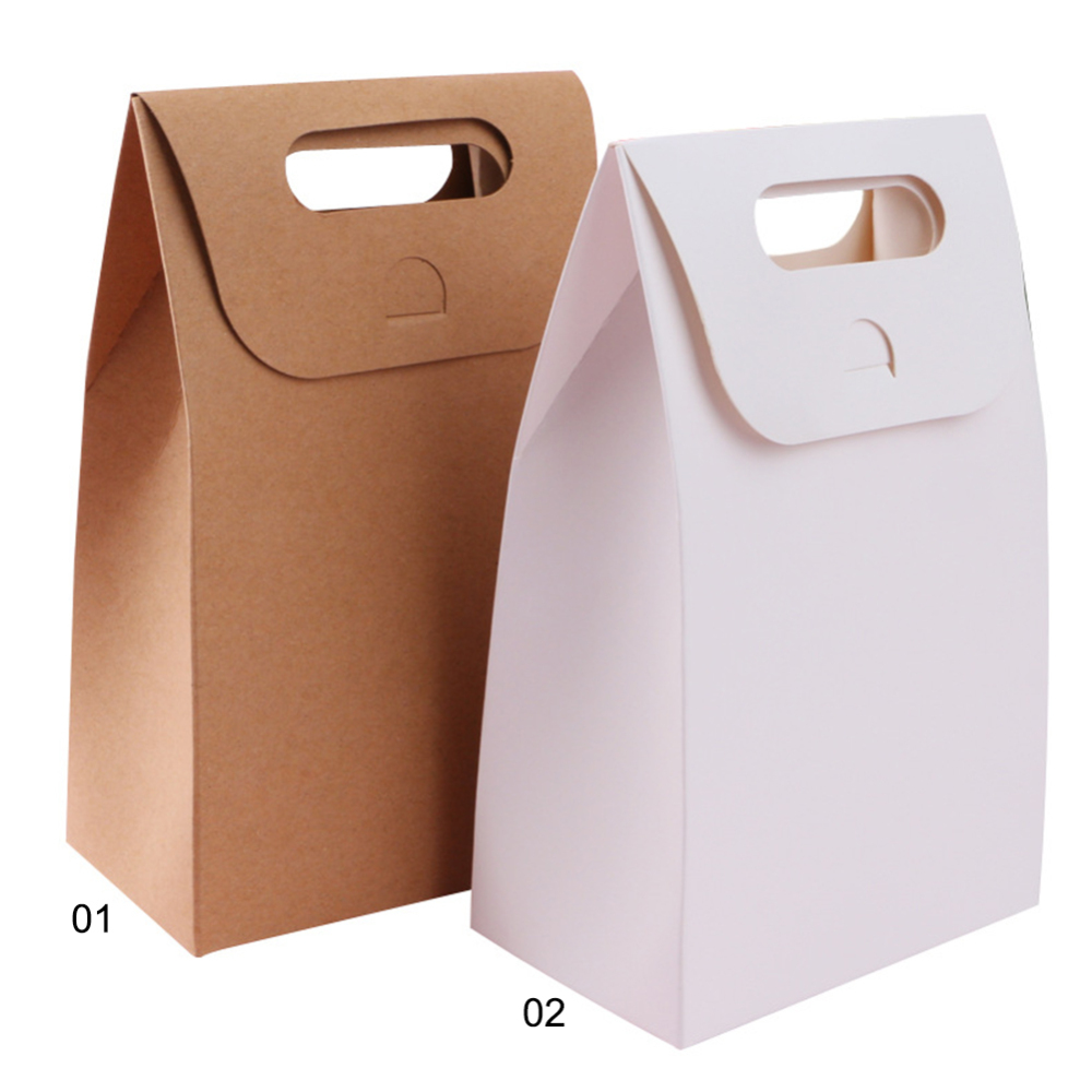 20pcs Brown Kraft Paper Cake Box With Handle,brown Cup Cake Box With Handle,wedding Paper Cardboard Cake Box Shopping Bags