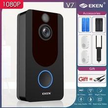 Eken v7 campainha inteligente câmera ip 1080p telefone campainha da porta para apartamentos ir alarme de segurança sem fio intercom wi fi vídeo campainha