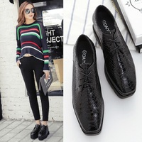 Dropshipping Oxfords Shoes Crocodile pattern Loafers Platform Ladies Shoes Creepers(Small size) Shoes For Women Women's SXYZ332