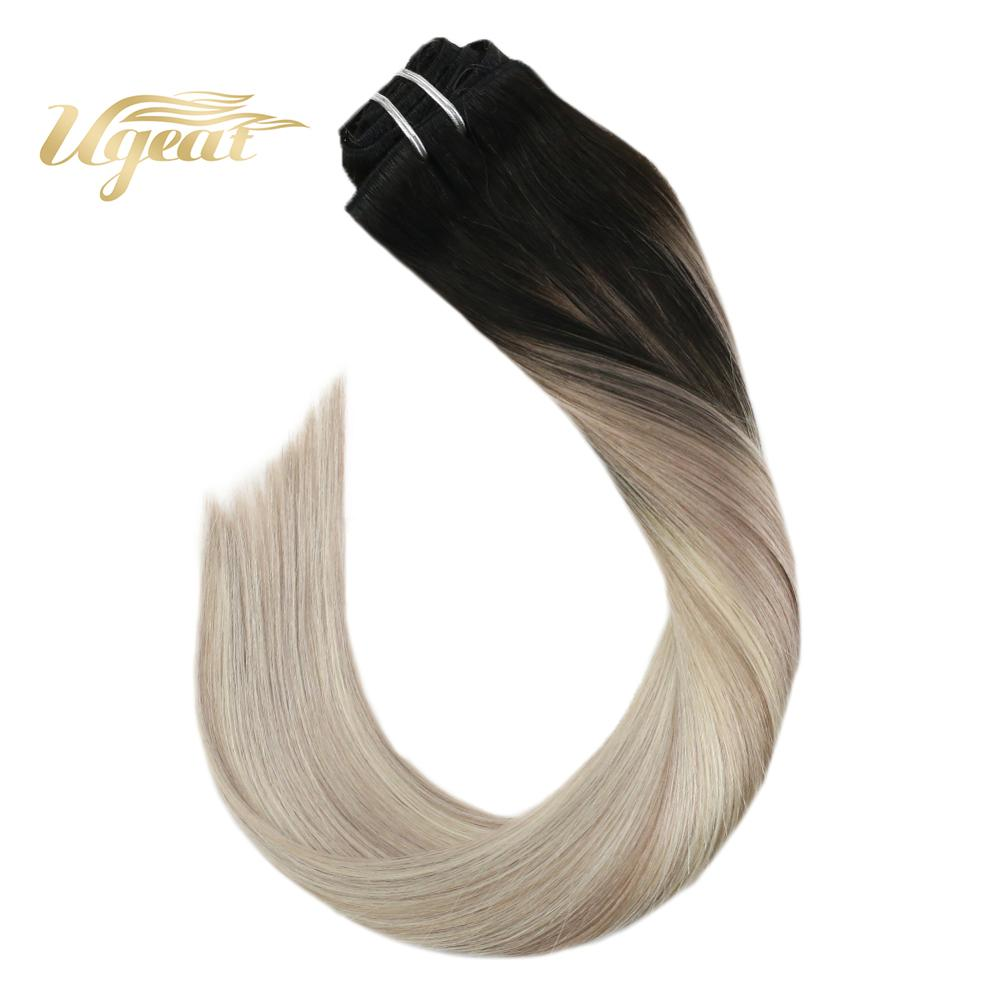 Ugeat Human Hair Clip In Extensions Blayage Blonde Color Hair 14-24 Inch Machine Made Remy Human Hair Natural Straight Hair 7Pcs