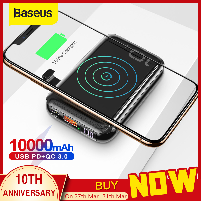 Baseus 10000mAh Qi Wireless Charger Power Bank USB PD Fast Charging Powerbank Portable External Battery Charger For Phone title=