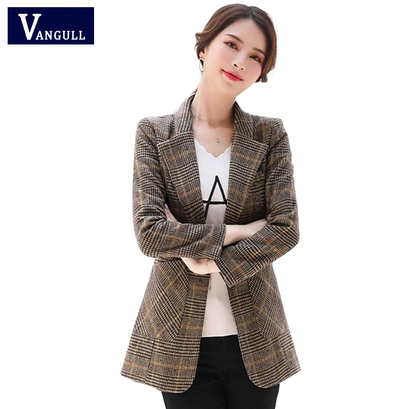 Vangull Women Autumn Plaid Blazer Spring Long Sleeve Slim Checked Coat Formal Jacket Office Suit Lady Outerwear Plus Size XXXXL